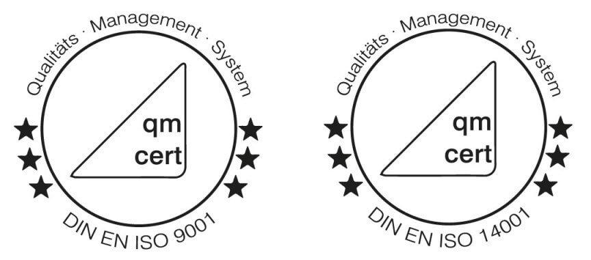 DIN EN ISO 9001 und DIN EN ISO 14001 zertifiziert